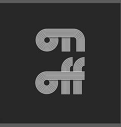 lettering word on and off text monogram parallel vector image