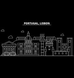 lisbon silhouette skyline portugal - lisbon vector image