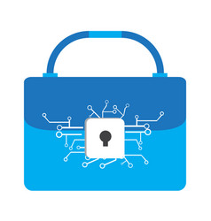 lockpad with a network on a suitcase vector image