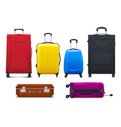 Luggage with isolated suitcases and travel bags vector