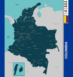 Map colombia vector