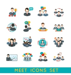 Meeting icons set flat vector