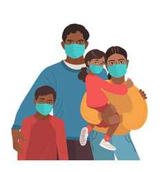 mother father daughter and son wear medical masks vector image