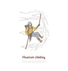 Mountain climbing extreme sport vector