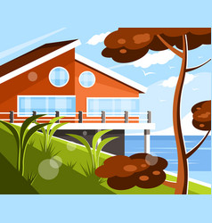 Ocean shore villa vector