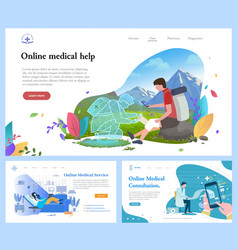 Online medical help and consultation website set vector