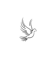 Pigeon line art for wedding and boutique logo vector