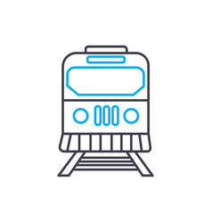 railway thin line stroke icon railway vector image
