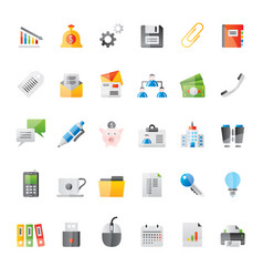 Realistic business office and finance icons 2 vector