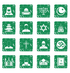 Religious symbol icons set grunge vector