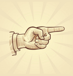 retro hand drawn sketch pointing finger vector image