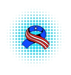 Ribbon in the USA flag colors icon comics style vector image
