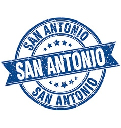 San Antonio blue round grunge vintage ribbon stamp vector