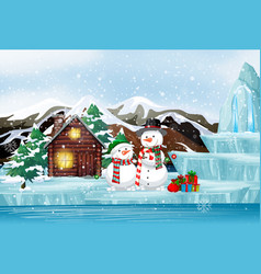 Scene with snowman and cottage on christmas day vector