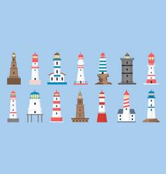 sea beacons coast lighthouse with searchlight vector image