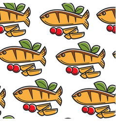 seafood cyprus cuisine fish and potato seamless vector image