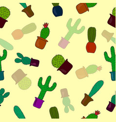 Seamless pattern with cute cactus on yellow vector