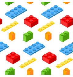 Seamless pattern with isometric plastic blocks 3d vector