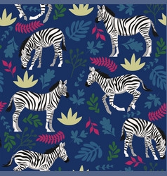 seamless pattern with zebras and plants vector image