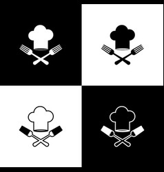 Set chef hat and crossed fork icon isolated on vector