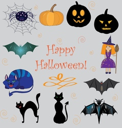 set of images on Halloween vector image