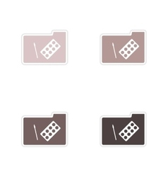 Set of paper stickers on white background folder vector