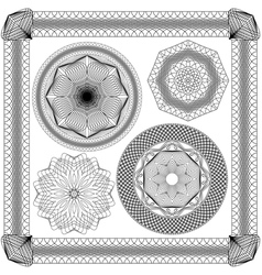 Set of Vintage backgrounds Guilloche ornament vector image