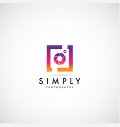 Simple clean colorful photography logo vector