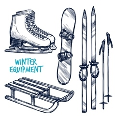 Sketch Winter Sport Objects vector