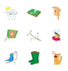Springtime icons set cartoon style vector image