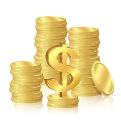 stacks gold coins vector image