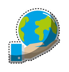 Sticker earth planet in the hand icon vector