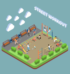 Street workout isometric composition vector