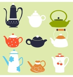 Tea Coffee Season Autumn Winter Kettle Set vector image