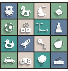 Toys Flat Retro Icons vector