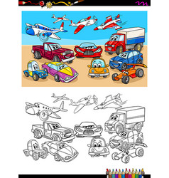 Transportation vehicles characters coloring book vector