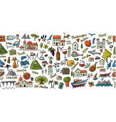travel to montenegro seamless pattern for your vector image