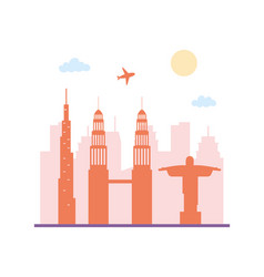 travel tourism skyline architecture urban city vector image