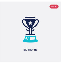 Two color big trophy icon from education concept vector