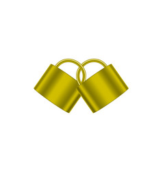 Two connected padlocks in gold design vector