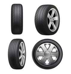 tyres realistic automobile wheeling tyres vector image