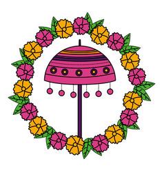 Umbrella onam celebration design vector