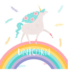 Unicorn with flowers and rainbow vector