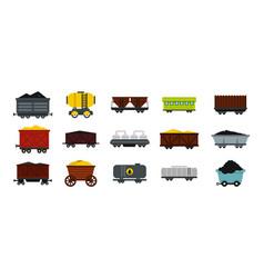 wagon icon set flat style vector image