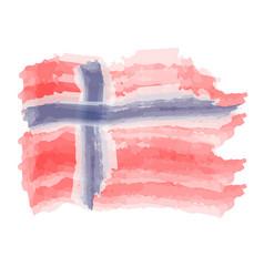 Watercolor flag of norway vector