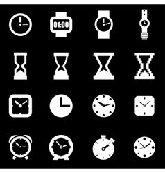 White clock icon set vector