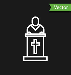 White line church pastor preaching icon isolated vector