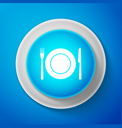 white plate fork and knife icon cutlery symbol vector image