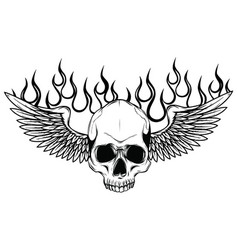 winged skull grim reaper drawing in a vintage vector image