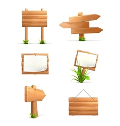 Wooden signs set vector